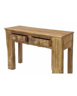 Konzolový stolek z teakového dřeva, ruční řezby, 120x40x80cm