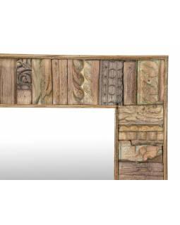 Zrcadlo v rámu z teakového dřeva, ruční řezby, 95x5x95cm
