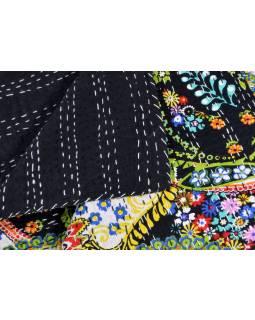 Černý přehoz na postel s Paisley potiskem, ruční práce, prošívání, 220x160cm