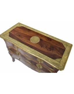 Šuplíková komoda z palisandrového dřeva, mosazné kování, 100x45x77cm