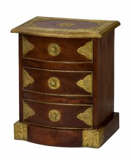 Komoda z palisandrového dřeva, 3 šuplíky, mosazné kování, 40x32x50cm