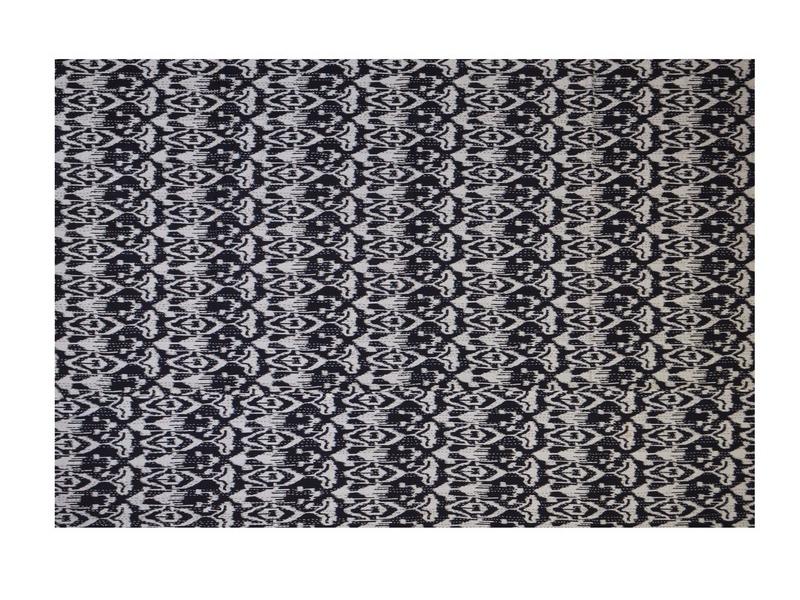 Černobílý přehoz na postel s potiskem, ruční práce, prošívání, 220x160cm