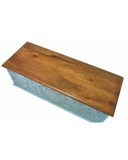 Truhla z mangového dřeva zdobená ručními řezbami, 116x43x49cm