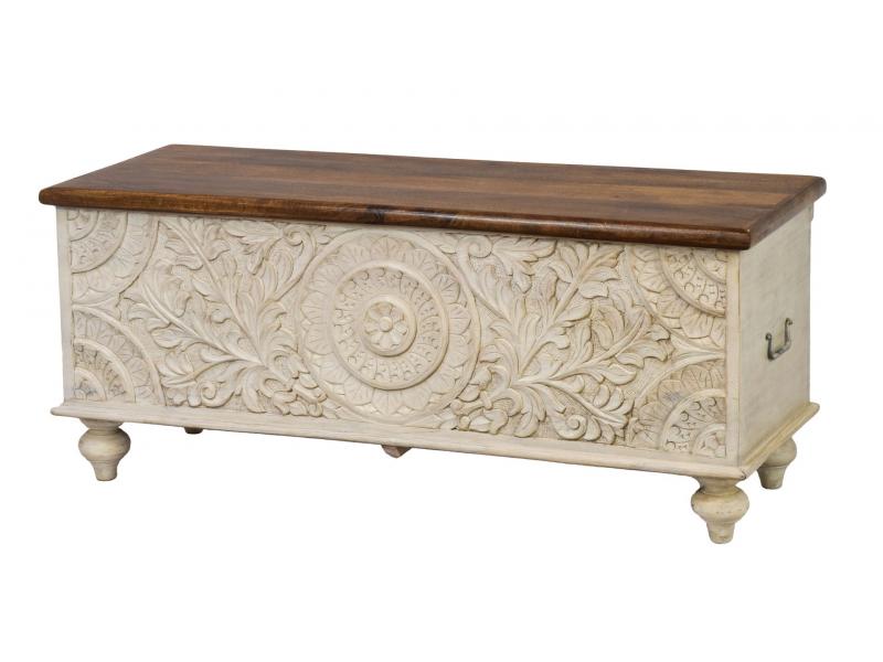Truhla z mangového dřeva zdobená ručními řezbami, 116x43x50cm