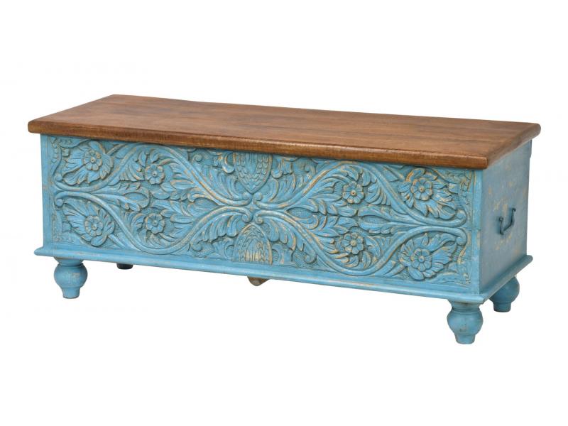 Truhla z mangového dřeva zdobená ručními řezbami, 116x43x46cm