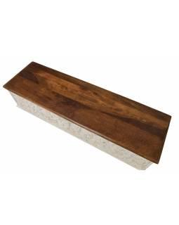 Truhla z mangového dřeva zdobená ručními řezbami, 149x43x45cm