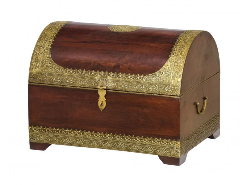 Truhla z palisandrového dřeva, mosazné kování, 61x46x46cm
