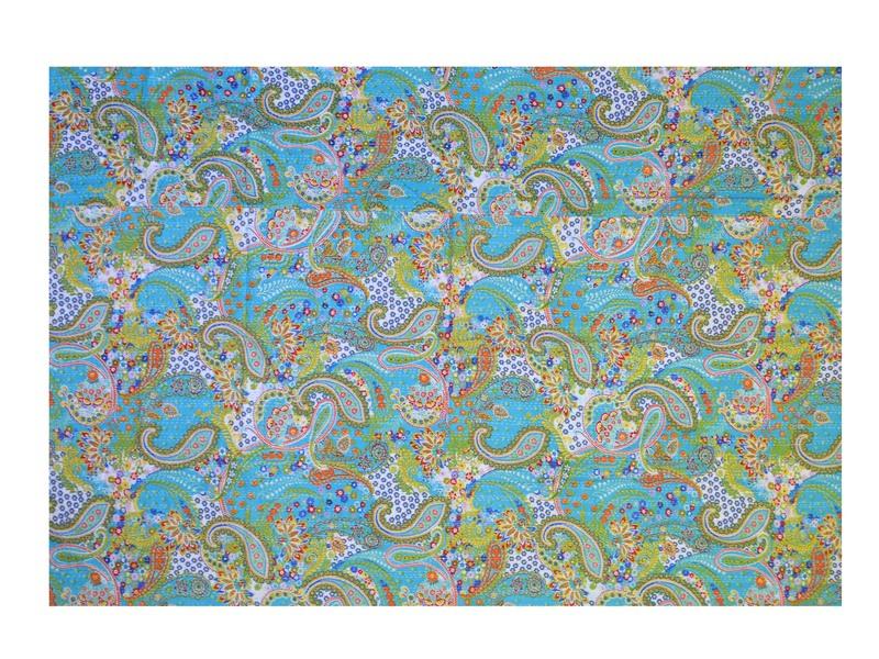 Tyrkysový přehoz na postel s Paisley potiskem, ruční práce, prošívání, 220x160cm