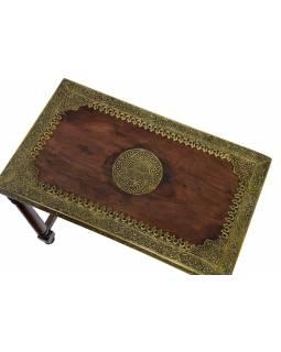 Stolička z palisandrového dřeva, mosazné kování, 60x35x53cm