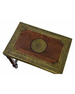 Stolička z palisandrového dřeva, mosazné kování, 50x33x45cm