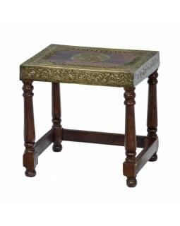 Stolička z palisandrového dřeva, mosazné kování, 38x30x38cm