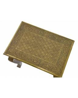 Stolička z palisandrového dřeva, mosazné kování, 48x33x49cm