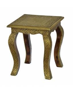 Stolička z palisandrového dřeva, mosazné kování, 33x33x39cm