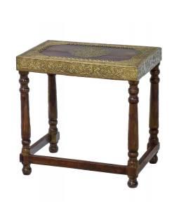 Stolička z palisandrového dřeva, mosazné kování, 45x30x45cm
