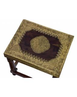 Stolička z palisandrového dřeva, mosazné kování, 35x28x37cm