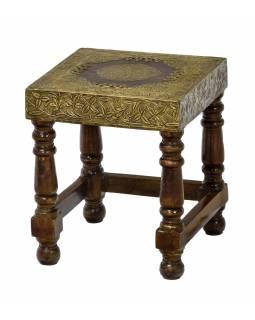 Stolička z palisandrového dřeva, mosazné kování, 22x25x29cm