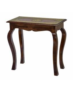 Stolička z palisandrového dřeva, mosazné kování, 63x33x61cm
