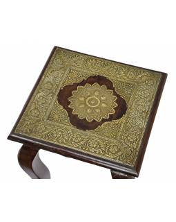 Stolička z palisandrového dřeva, mosazné kování, 33x33x40cm