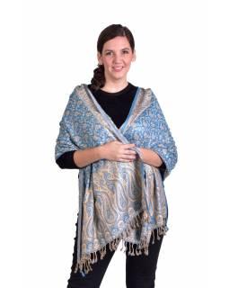 Velká šála, paisley vzor, tyrkysovo-béžový, třásně, 73x194cm