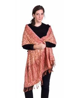 Velká šála, paisley vzor, červeno-béžový, třásně, 73x194cm