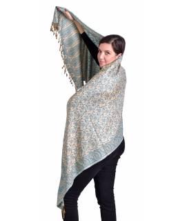 Velká šála, paisley vzor, světle modro-béžový, třásně, 73x194cm