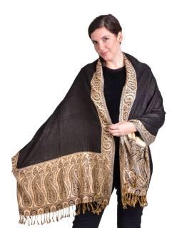 Velká šála, paisley vzor, černo-béžový, třásně, 70x200cm