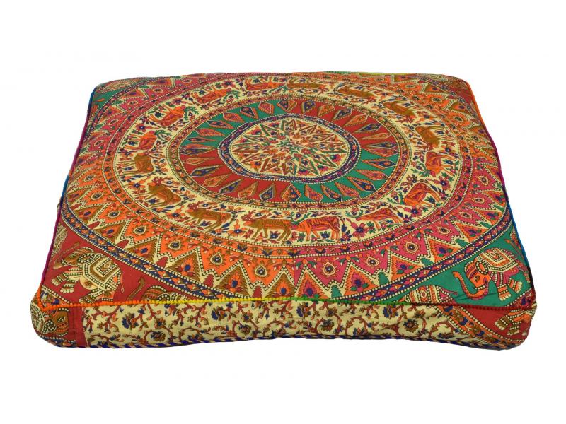 Meditační polštář, čtverec, 85x15cm, barevná mandala, jeleni a sloni, béžový
