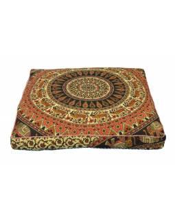 Meditační polštář, čtverec, 85x15cm, barevná mandala, jeleni a sloni