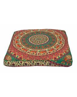 Meditační polštář, čtverec, 85x15cm, barevná mandala, sloni a jeleni