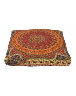 Meditační polštář, čtverec, 85x15cm, barevná mandala, sloni