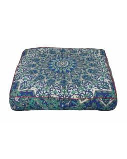 Meditační polštář, čtverec, 85x15cm, zeleno-modro-šedá mandala