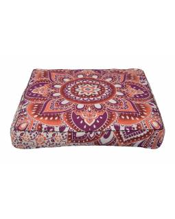 Meditační polštář, čtverec, 85x15cm, fialovo-vínovo-bílá velká mandala