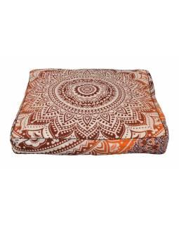 Meditační polštář, čtverec, 85x15cm, oranžovo-vínovo-bílá velká mandala