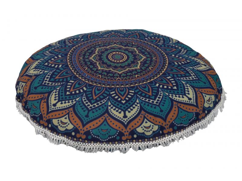 Meditační polštář, kulatý, 80x13cm, tmavě modrý, barevná mandala, bílé třásně