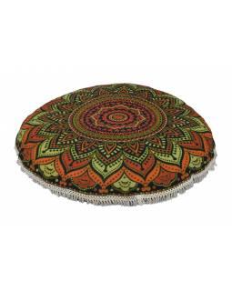 Meditační polštář, kulatý, 80x13cm, tmavě zelený, barevná mandala, bílé třásně
