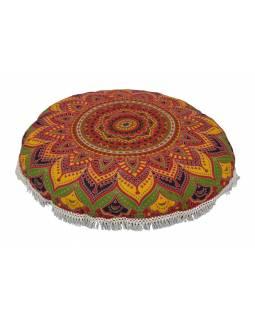 Meditační polštář, kulatý, 80x13cm, červený, barevná mandala, bílé třásně
