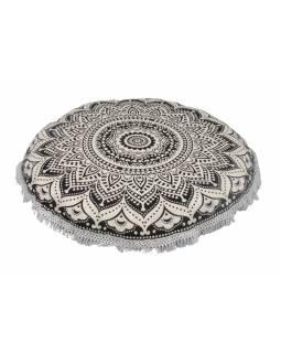Meditační polštář, kulatý, 80x13cm, černo-bílý, velká mandala, bílé třásně