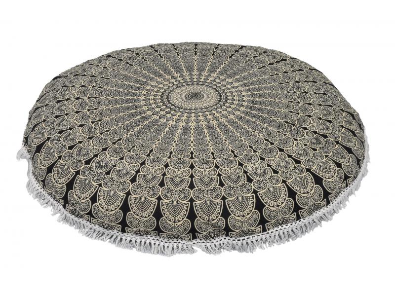 Meditační polštář, kulatý, 80x13cm, černo-bílý, paví mandala, bílé třásně