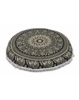 Meditační polštář, kulatý, 80x13cm, černo-bílý, sloní mandala, bílé třásně