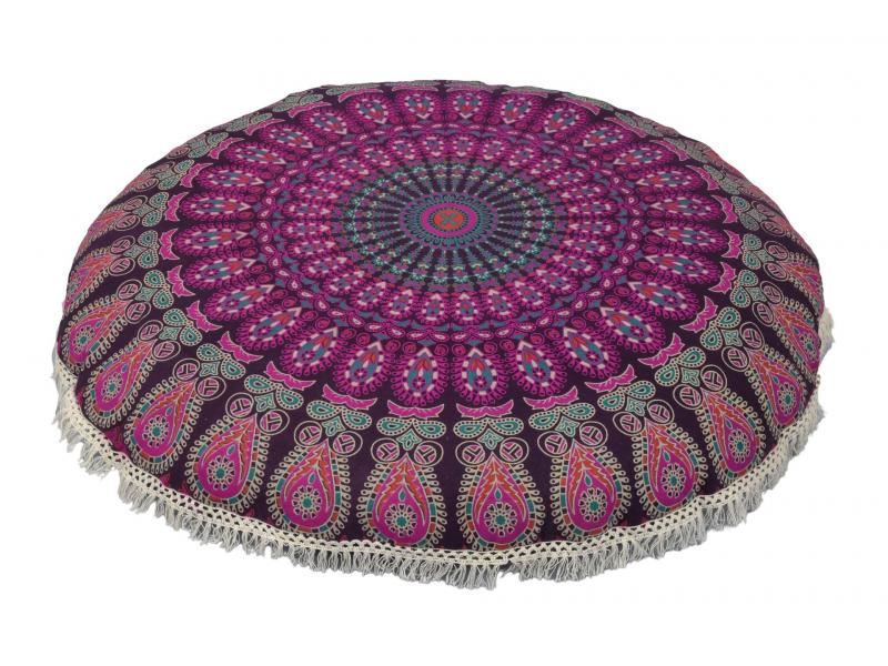 Meditační polštář, kulatý, 80x13cm, fialový, paví mandala, bílé třásně