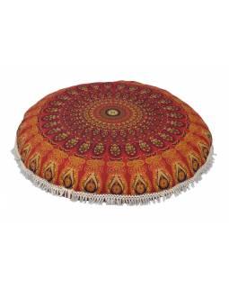 Meditační polštář, kulatý, 80x13cm, červený, paví mandala, bílé třásně