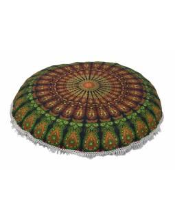 Meditační polštář, kulatý, 80x13cm, zelený, paví mandala, bílé třásně