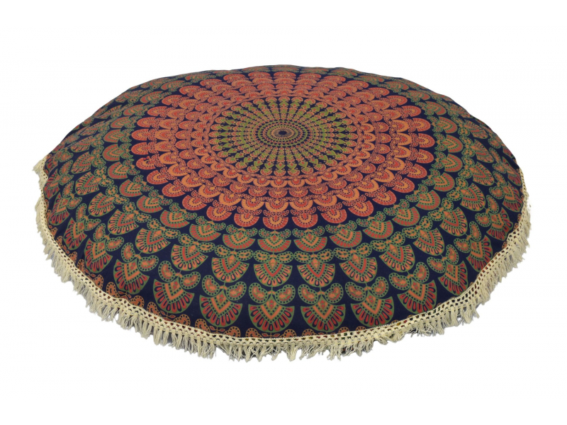 Meditační polštář, kulatý, 80x13cm, tmavě modrý, paví mandala, bílé třásně