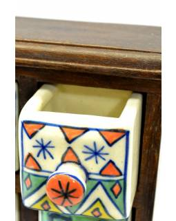 Skříňka, 4 keramické šuplíčky, dřevěná, 17x17x7cm
