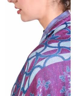 Velká šála, modro-fialová, vzor, třásně, 69x190cm