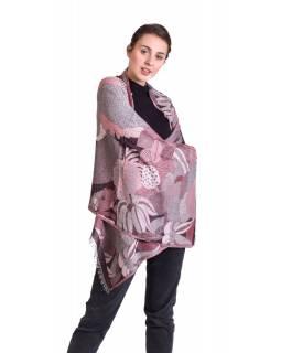 Velká šála, vínovo-růžová, vzor, třásně, 71x190cm
