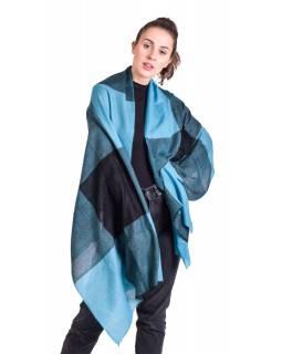 Luxusní šál z kašmírové vlny, tyrkysovo-černý, 78x200cm