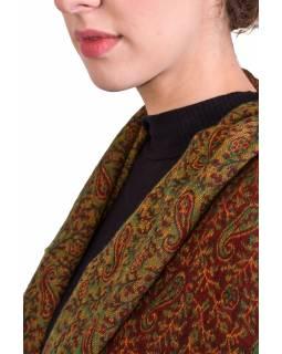 Velký zimní šál se vzorem paisley, červeno-zelený, 210x101cm