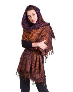 Velký zimní šál se vzorem paisley, fialovo-oranžový, 210x101cm