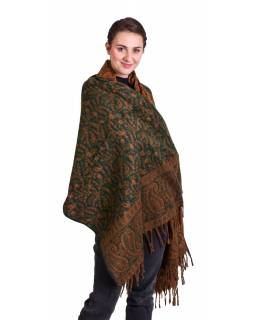 Velký zimní šál se vzorem paisley, zeleno-oranžový, 210x101cm